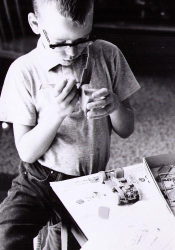 A younger me... model maker at work.
